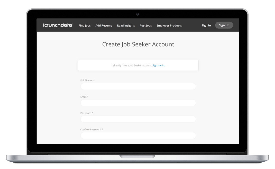 Sign up for job seekers
